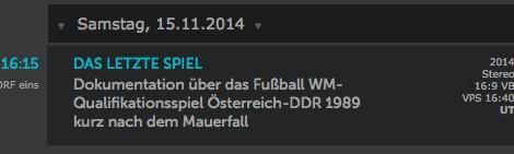 """ORF-Dokumentation zum Mauerfall """"Das letzte Spiel"""""""